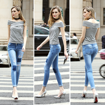 060bfce49a4 European Style Women High Waist Light Blue Jeans Hole Destroy Skinny Demin  Jeans Pant