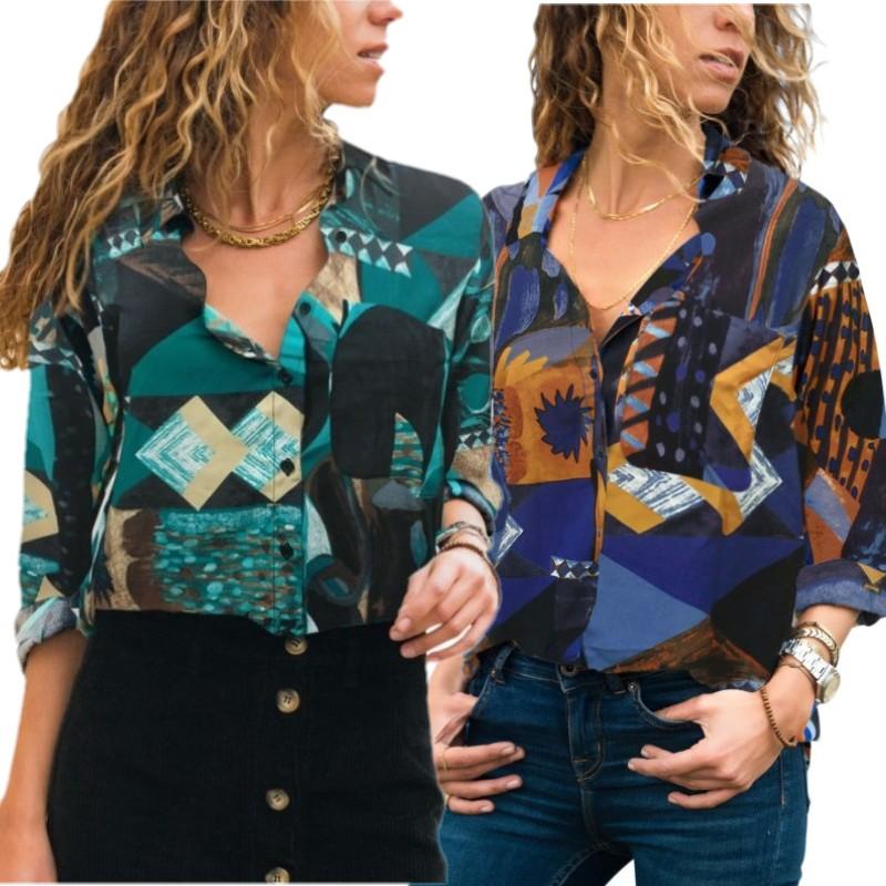 940eec44fcc40 2 renk Soyut Renk Blok Desen Düğmesi Gömlek Kadınlar Için Tops Turn Down  Yaka Casual Bluzlar
