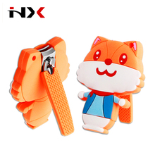 Custom Cute Cartoon Cat Shape Baby Nail Clipper Kids Nail Clipper Children Nail Cutter with soft Silicon handle and collection
