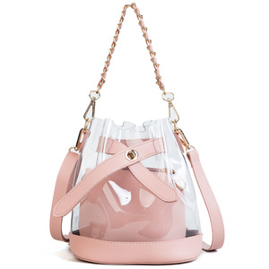 2018 Womens Girls Clear Transparent Shoulder Bag Jelly Candy Summer Beach Handbag pvc bucket bags