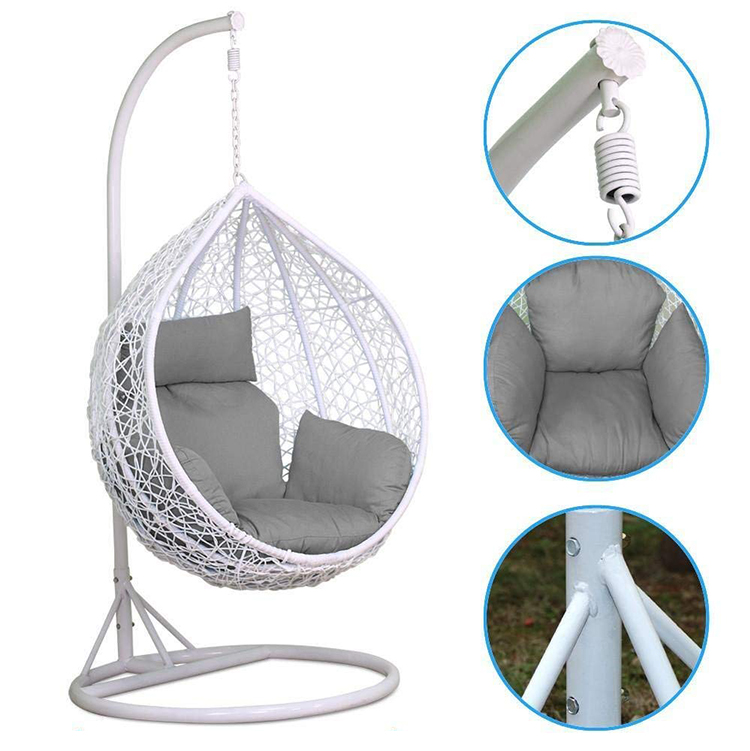 2019 hot sale factory price balcony white hanging outdoor aluminum rattan patio swings