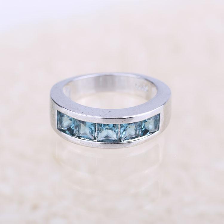 blue big cubic zirconia new model wedding ring wholesale