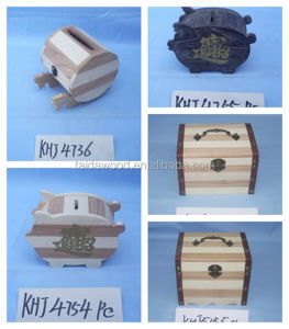 antique kids natural 100% handmade small piggy bank wooden money box wooden money saving box
