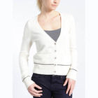 WOMEN'S 100% LAMBSWOOL DEEP NECK CARDIGAN SWEATER