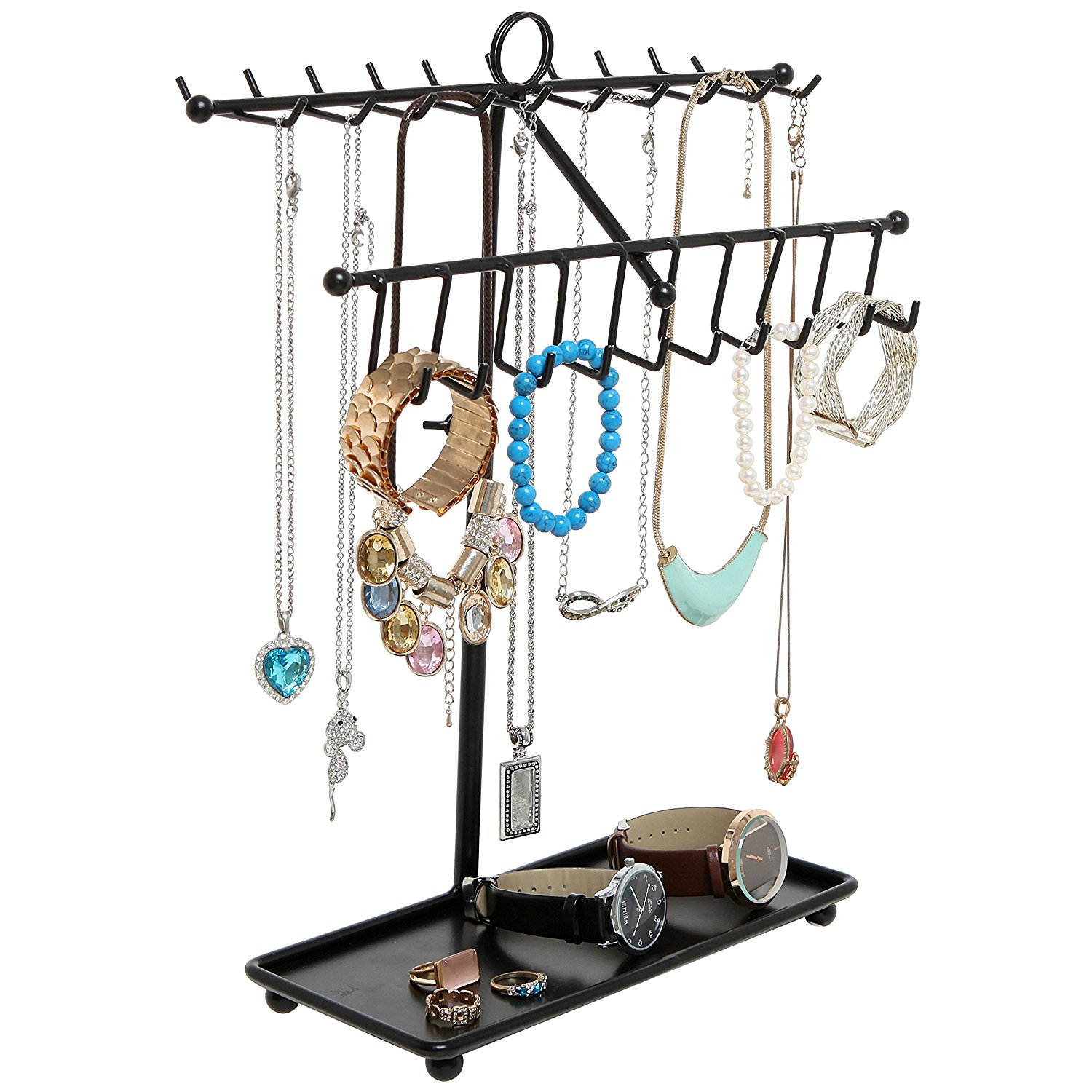 MyGift Black Metal Adjustable Height Jewelry / Necklace / Bracelet Hanger w/ Ring Tray Retail Display