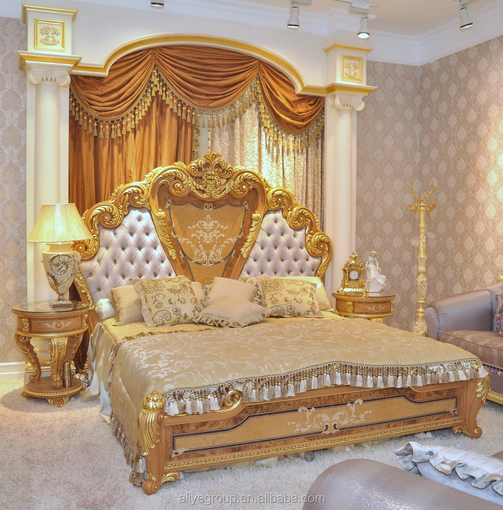 Luxury baroque style double bed king size with royal for Mobilia king size bed
