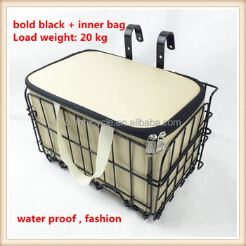hanging bicycle accessories basket foldable with inner bag