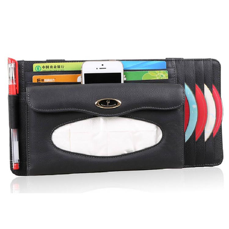 Multifunction high quality car visor tissue leather bag tissue case with CD holder