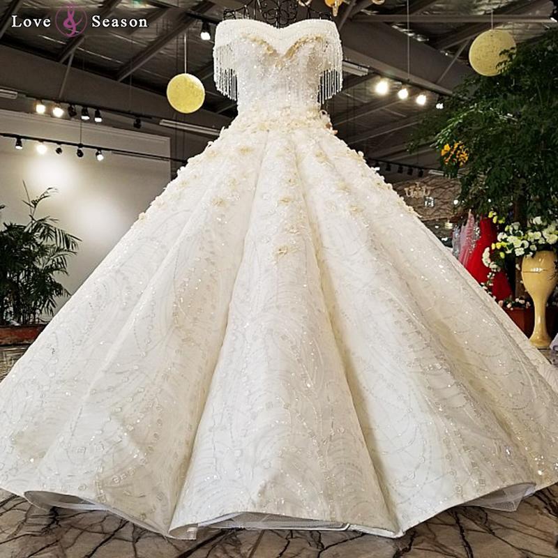 0070bb3d375 Ls74855 Off Shoulder Puffy Skirt Wedding Dress Sweetheart Golden Gown Ball  Lace Off White Wedding Dress Bridal Gown 2018 - Buy Wedding Dress Bridal  Gown ...