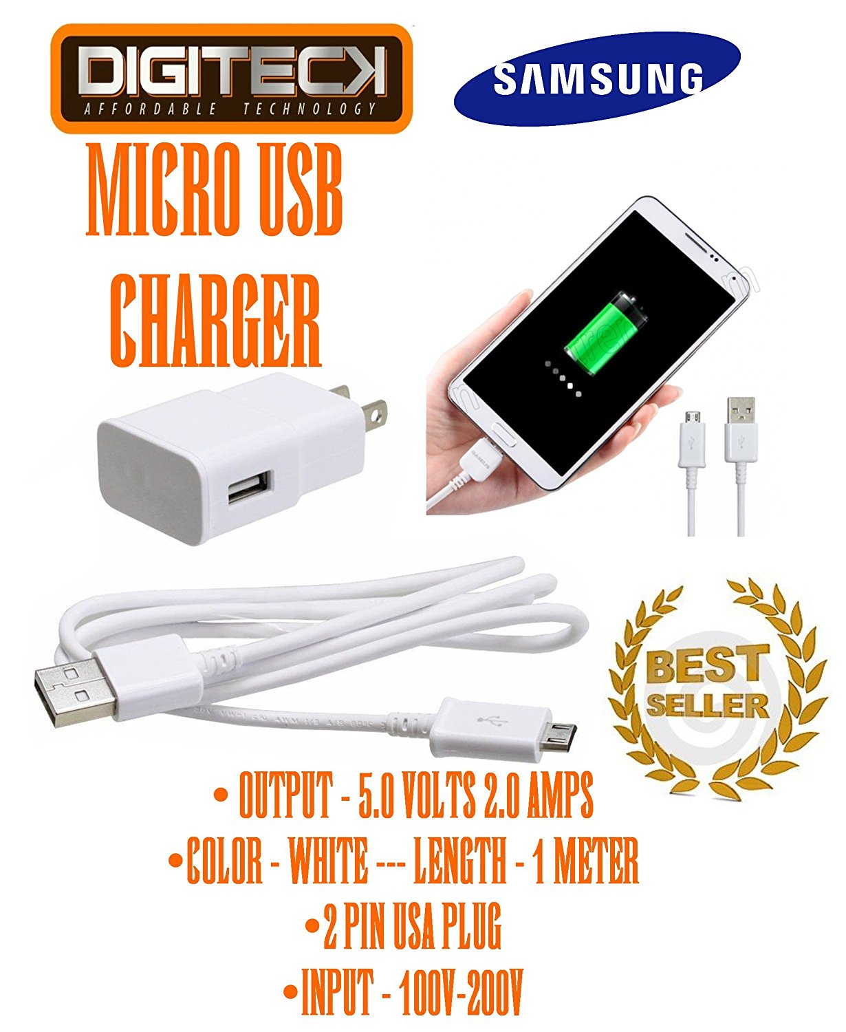 SAMSUNG GALAXY 2.0 MICRO USB WALL CHARGER 1 METER WHITE USA 2 PIN 5V 2A