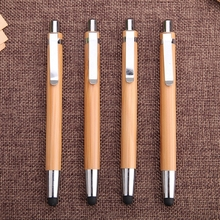 Promotional customized bamboo pen and stylus engraved logo bamboo ballpoint pen with touch