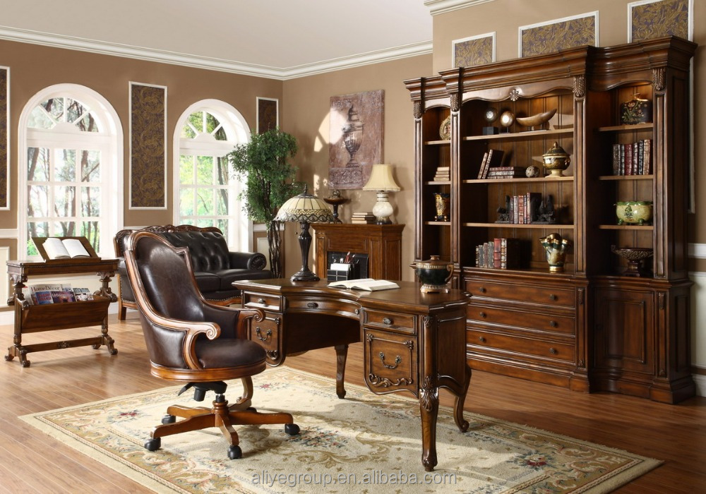8007B-82- Solid wood size of study table bookcase with study table chair