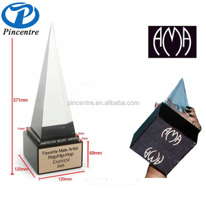 wholesale crystal replica America music award trophy with wood base