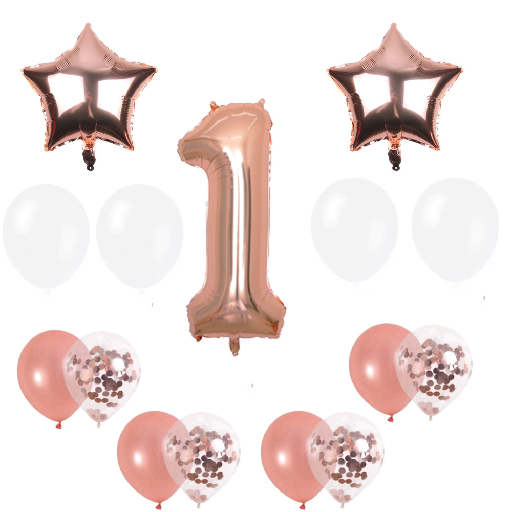 First Birthday Decorations For Girl 1st Baby Number Rose Gold Foil Balloon