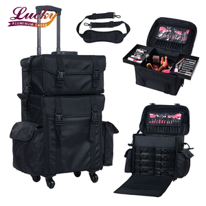 Rolling Makeup Case Trolley 2 in 1 Travel Cosmetic Train Cases on Wheels Nylon Black Bags