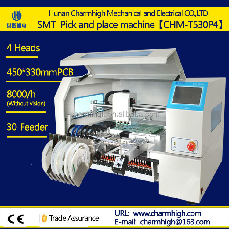 New 4 Heads SMT pick and place machine with Yamaha pneumatic feeder SMD Led Mounting