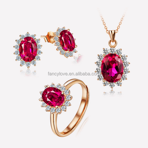 Fancylove jewelry 925 sterling silver red stone set sterling silver pendant earring ring sets in stock