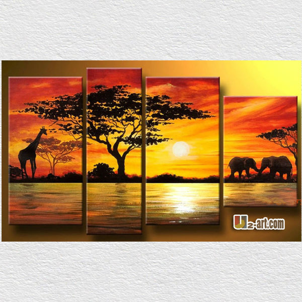 Canvas panels art African animal oil painting for living room wall decoration