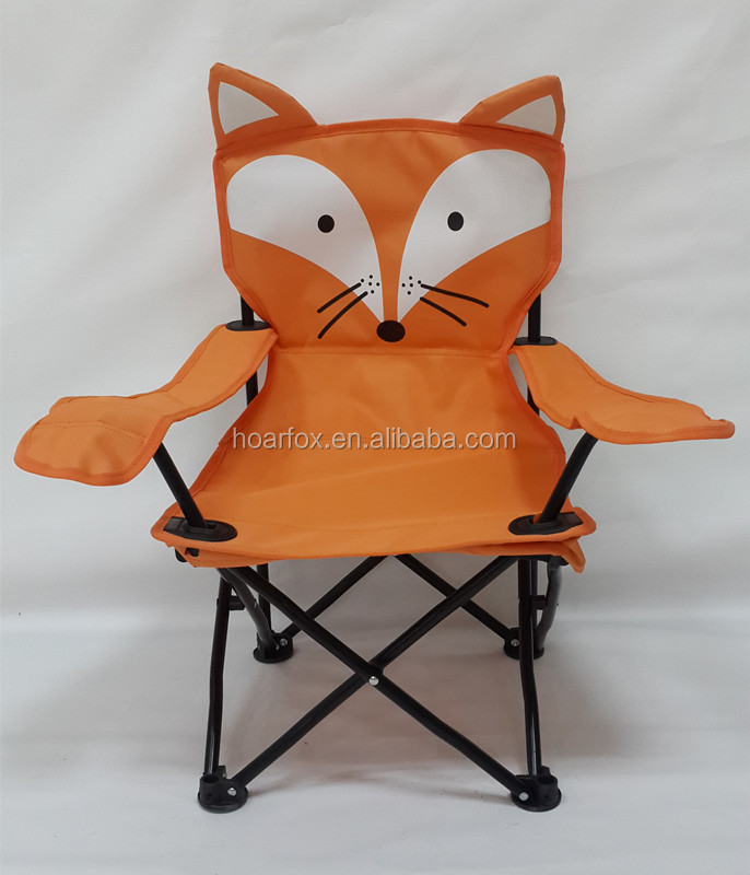 Portable Orange Fox Kids Camping Chair With Carrying Bag