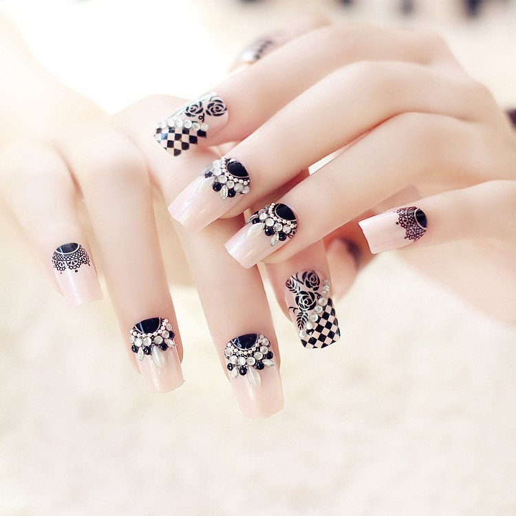 2016 Full Cover Pearl And Acrylic Diamond Fake Nails Design,Abs ...