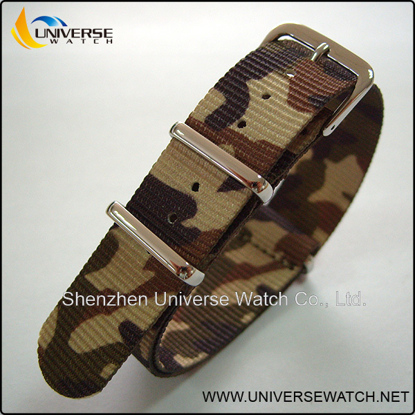 NATO military nylon watch strap with silver buckle UN07