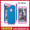mobile phone shockproof double color PC silicon combo case for iphone 6