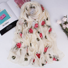Fashion 180cm Large Colorful Flower Embroidered Women Chiffon Scarf Shawl