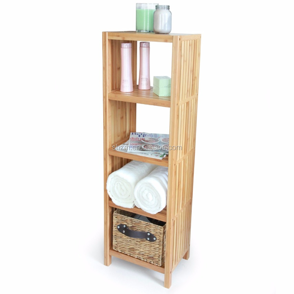 Wholesale Bamboo Furniture Top Quality Bamboo Bathroom Storage Shelf Bamboo Freestanding Organizing Shelf. (5-Tier Shelf)