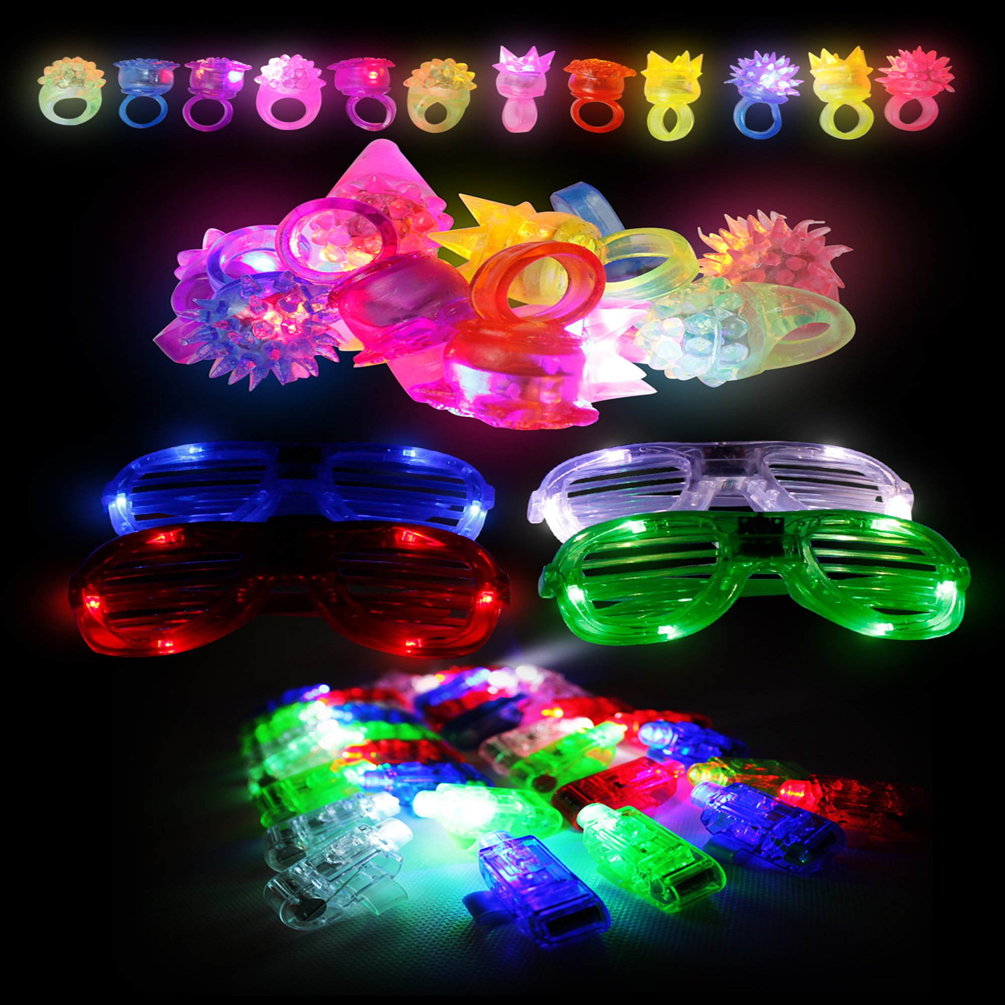 Fun Central (BC791) LED Party Pack, Party Favor Pack, Party Supplies Pack, LED Light Party Pack - LED Finger Lights Assorted 40ct, LED Jelly Rings 12ct, LED Slotted Shades - Blue,Red,Green,White