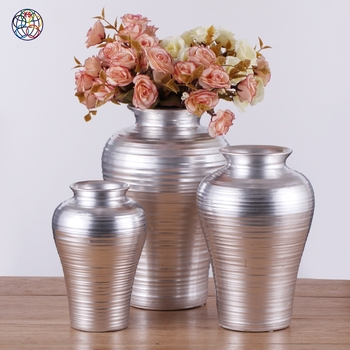 Wholesale silvery floor ceramic interior decoration large vase