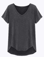 2014 New Spring/ Women's Ultra Thin Heather Poly/Rayon V Neck t shirt