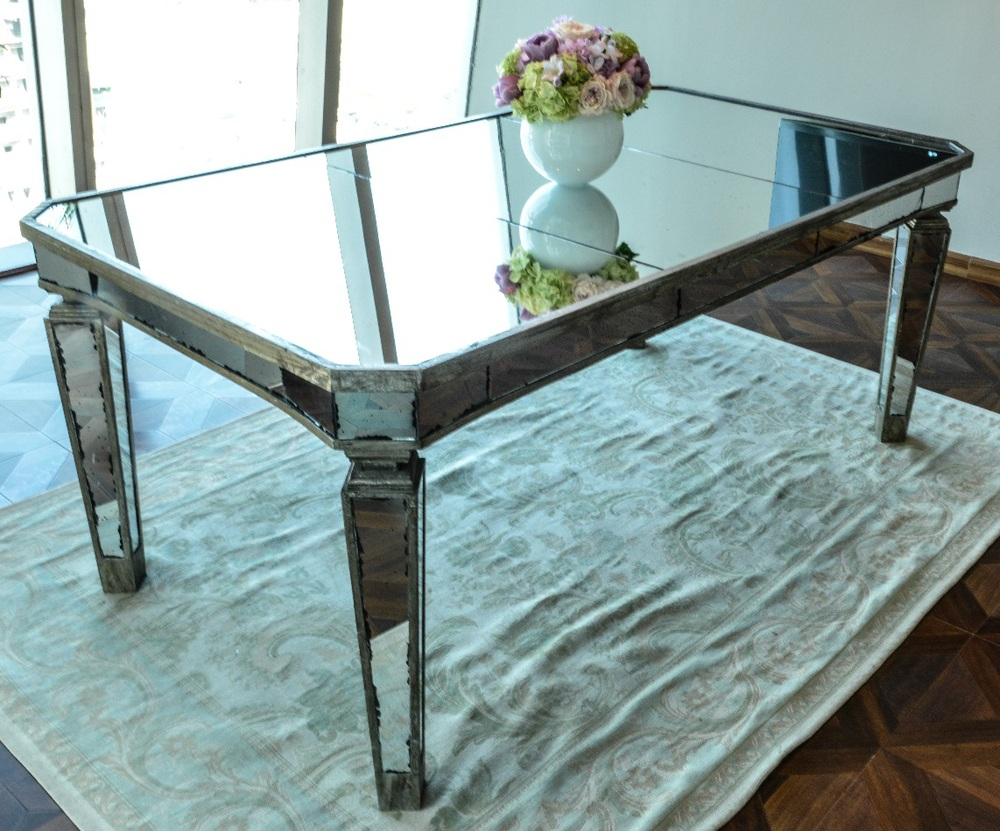 Mirror Dining Table. Big Mirrored Dining Table For Rentwedding ...