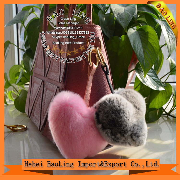 charm New Design Long Ear Fur Ball Heart shape Dolls Keychain Keyrings For Car online shop
