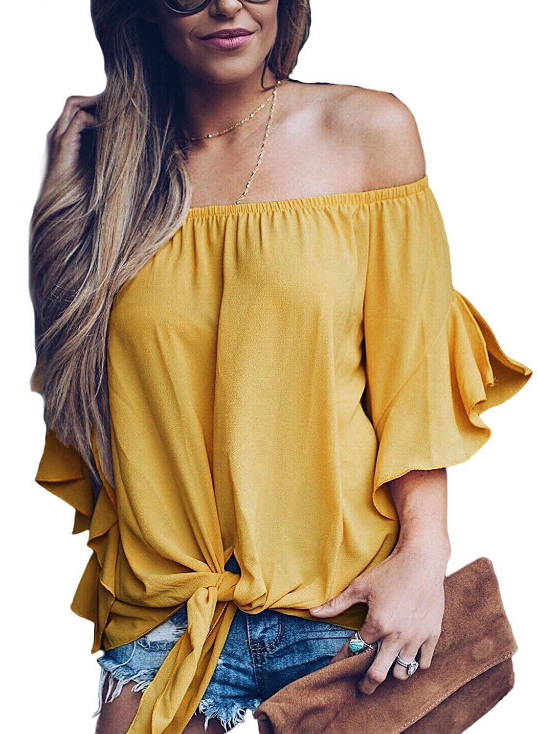 9c44ca20478 Get Quotations · Women's Striped Off The Shoulder Bell Sleeve Tops Shirt  Tie Knot Chiffon Casual Blouses