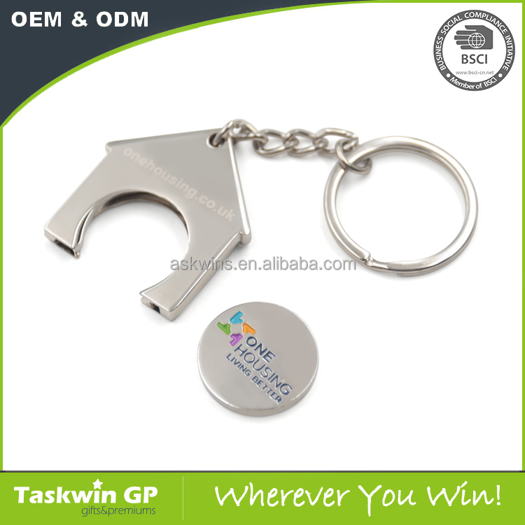 Custom new design metal UK house shaped token holder trolley coin keychain