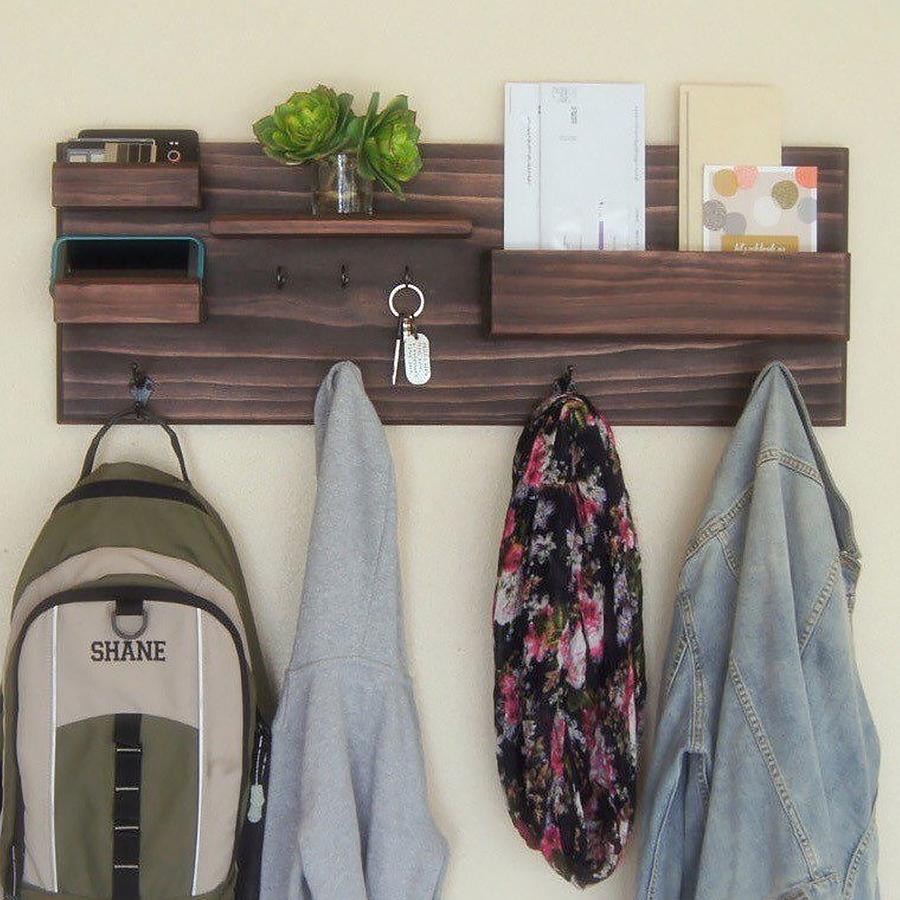 Wooden Wall Shelf With Cloth Hook Entryway Organizer Coat Hooks key Rack Mail Holder