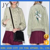 Brand new Satin Jacket for Women Embroidered Bomber Jacket Shop Online with high quality