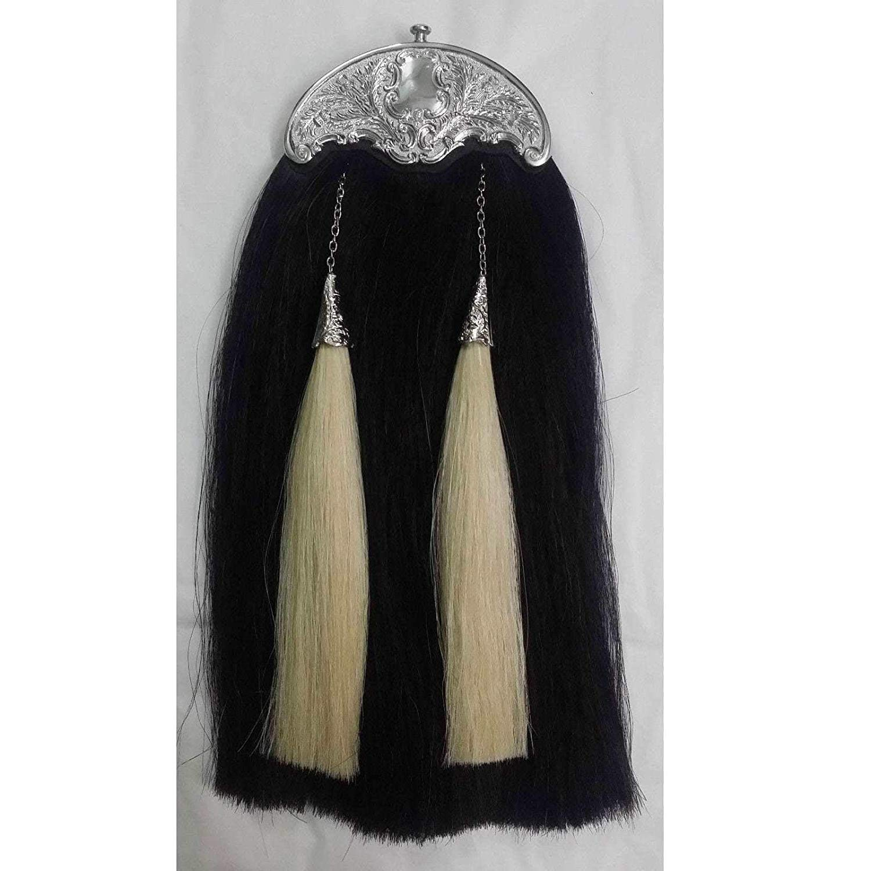 CT Men's Scottish Kilt Sporran Original Horse Hair Black & White Various Cantle Finish/Highland Full Dress Sporrans Real Leather (Black & White Hair Chrome Cantle)