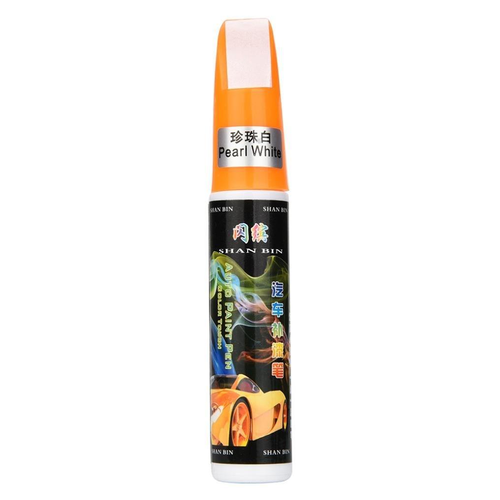 Ecosin Car Scratch Repair Pen Colors Auto Car Coat Paint Pen Touch Up Scratch Clear Repair Remover Remove Tool (White C)