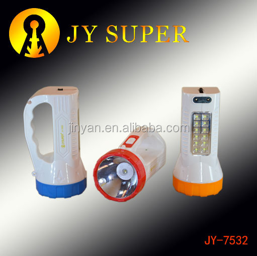 JY SUPER new led plastic handle torch light with emergency flashlight 7532