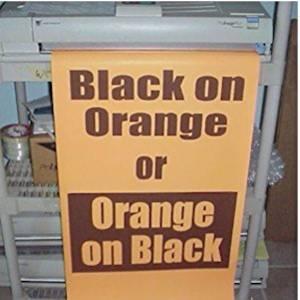 Variquest / Fujifilm / Varitronics Poster Paper (DTP) 23″ x 100′ rolls - Black on Orange