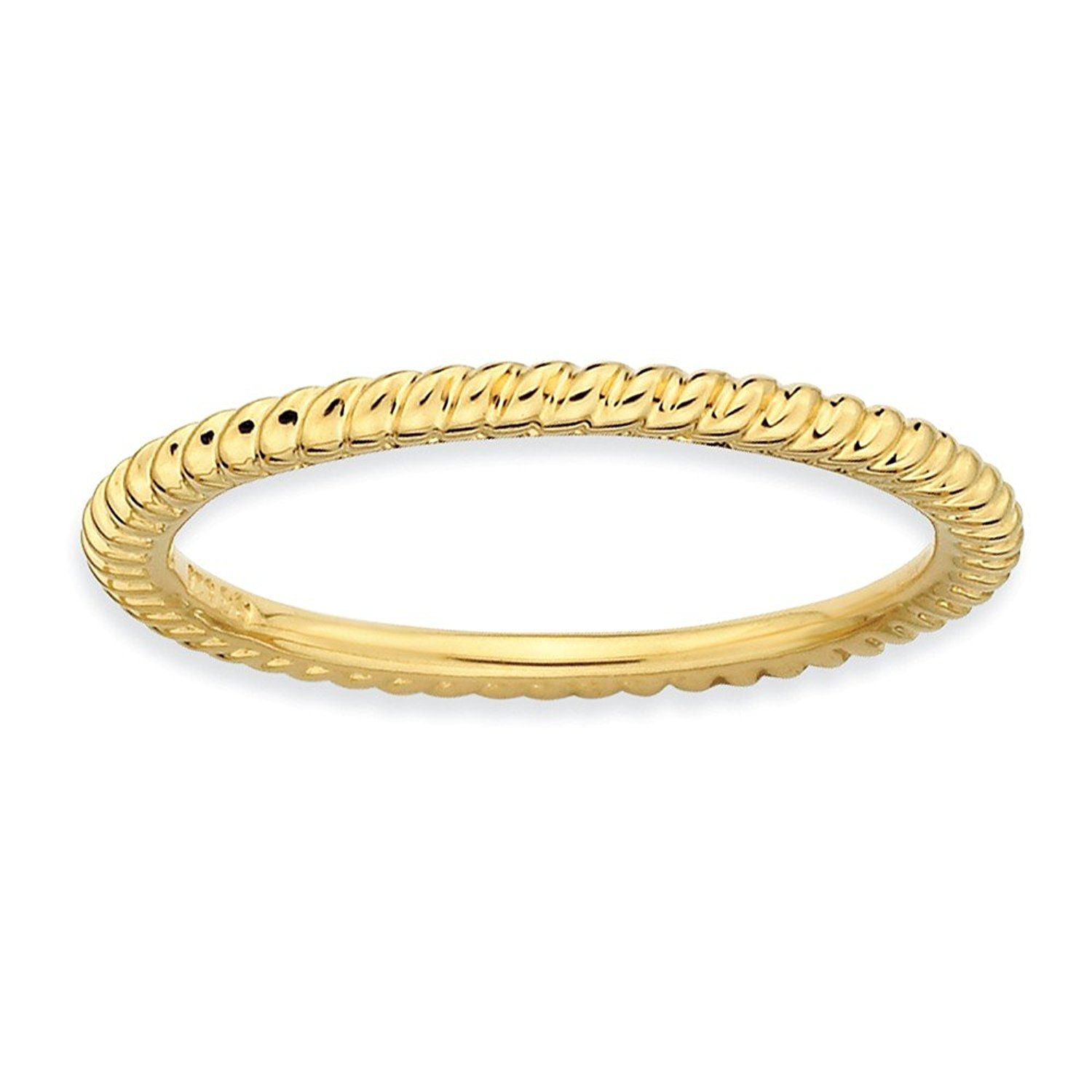 1.5mm Thin Twisted Band 18K Yellow Gold Plated Sterling Silver Stackable Expressions Ring