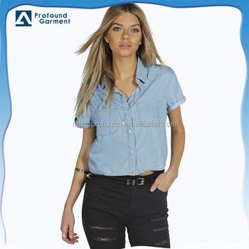 5aa900689 Custom Light Blue Denim Shirts/casual Denim Crop Shirts For Ladies ...