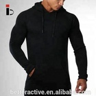 Black basic design cotton polyester mens gym hoodie