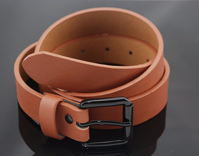 brown steel roller buckle men PU belt