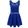 UK New Collection Scuba Fabric Sleeveless Navy Blue Hollow-out Pleat Dress