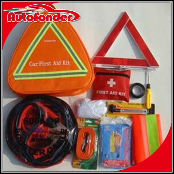 High Quality Low car emergency tool kit with booster cable torch /car emergency kit