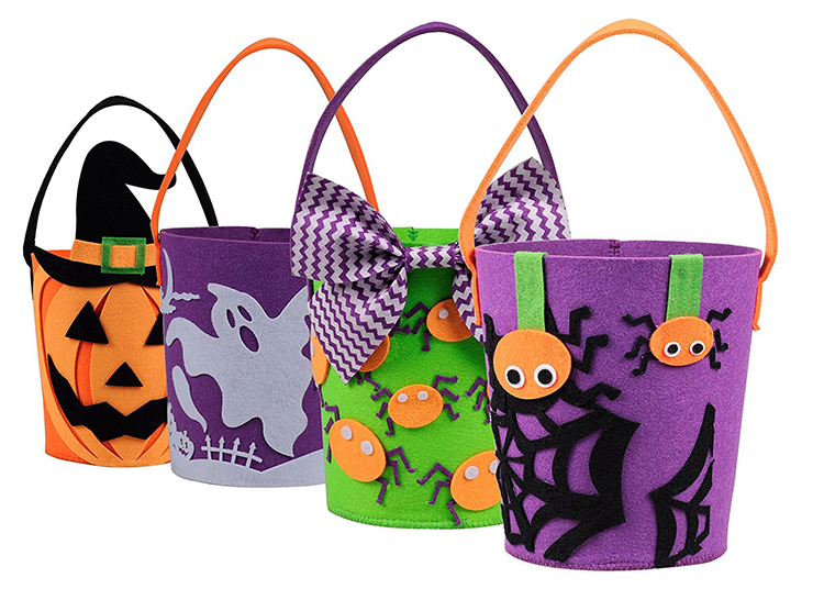 In stock promotional custom felt storage halloween candy buckets decoration