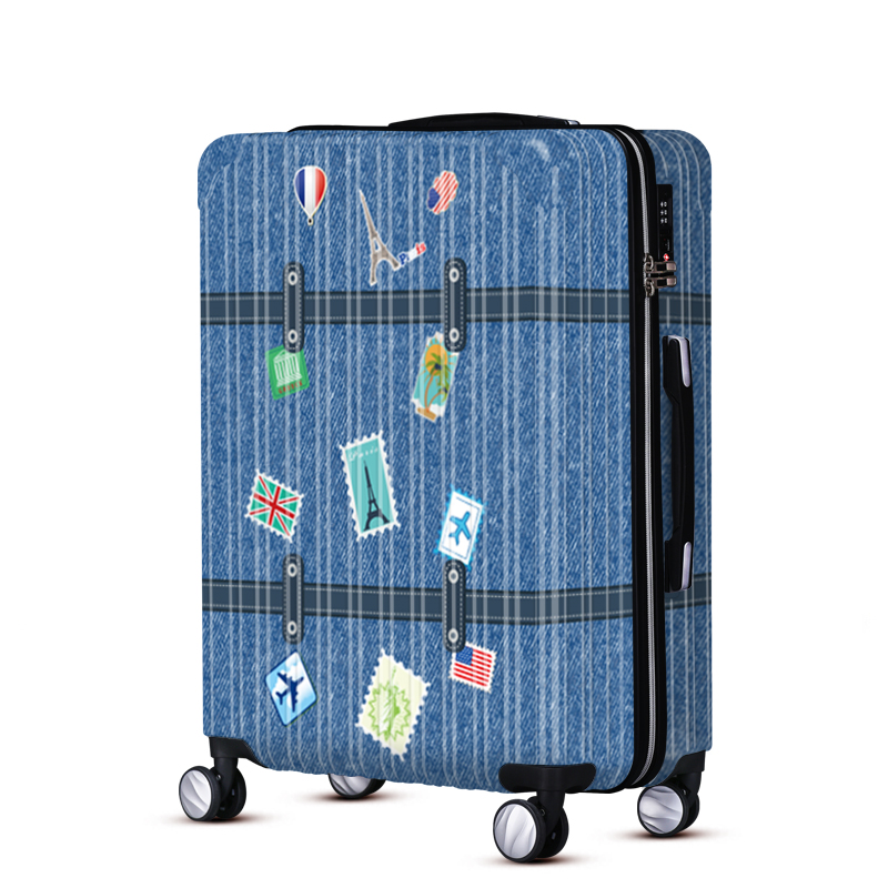 Retro style print ABS/PC spinner travel luggage sets Rolling luggage WAO BAG