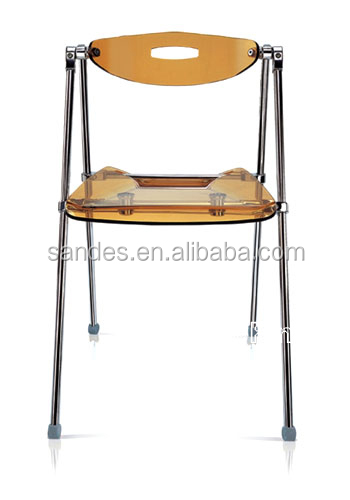Useful Yellow Cheap Acrylic Wedding Chair with 4 Metal Legs